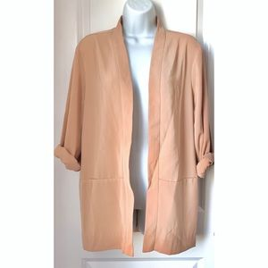ASOS Nude Open Front Long Sleeve Blazer Jacket